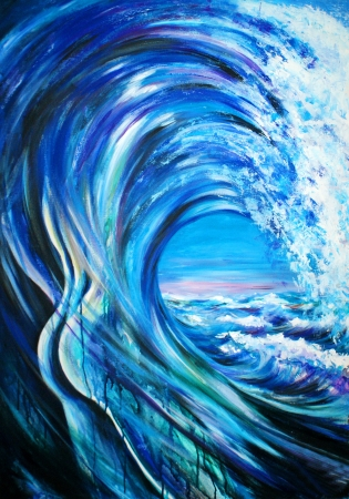Wave formed as a male body Picture created  with acrylics