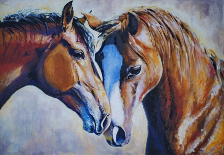 Portrait of two beautiful horses acrylic painted