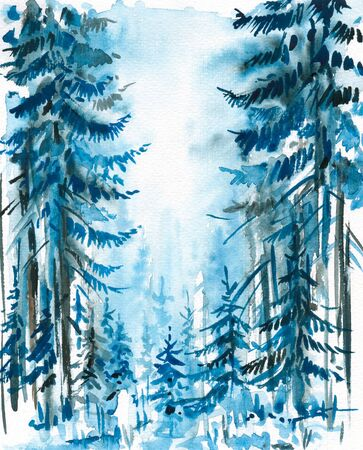 Winter background with blue  forest watercolor painted  photo