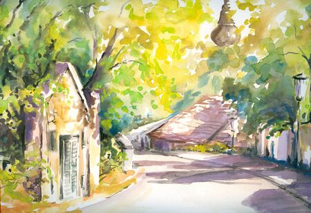 Sunny street in country town Picture painted  with watercolors   photo