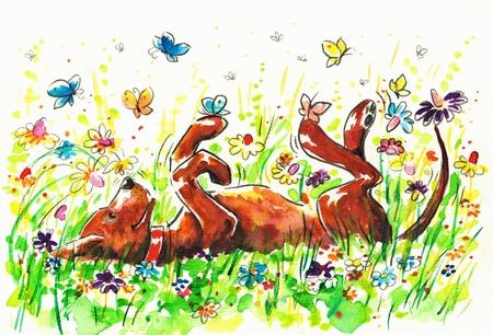 Gelukkige hond op een veld Beeld gemaakt met aquarellen Stockfoto