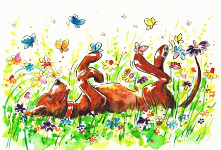 Happy dog on a field Picture created with watercolors