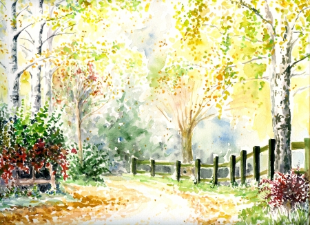 fence park: Road, fence and trees in autumn Picturepainted with watercolor