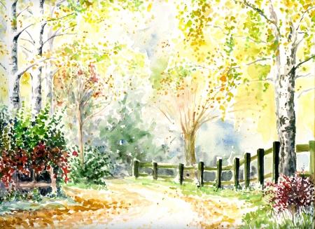 Weg, hek en bomen in de herfst Picturepainted met waterverf Stockfoto