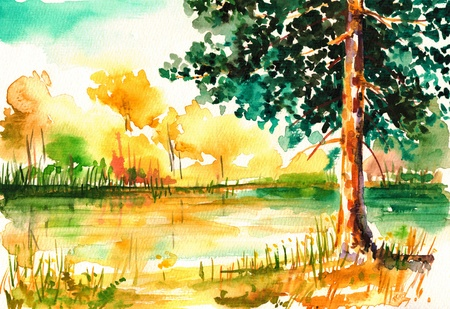 Nature background with forest in summer watercolor painted  Archivio Fotografico