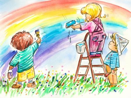 enfants peinture: Enfants peignant arc en ciel ensemble Image cr��e avec des aquarelles