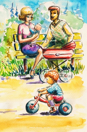 A young family with children in park Picture created with watercolors  photo