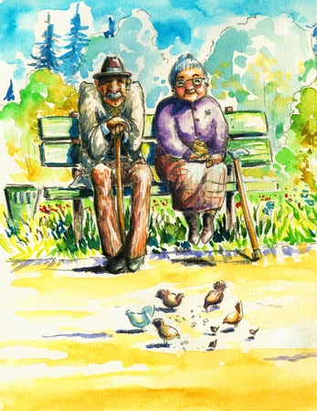 Retired couple sitting together on a bench in park  Grandmother feeding the pigeons  I have created it with watercolors