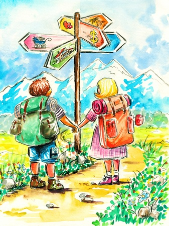 Two people begin life way together Picture created with watercolors  photo