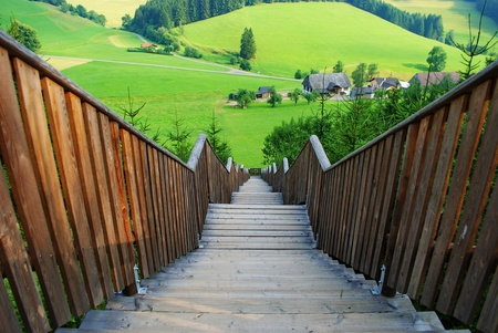 Wooden stairways with landscape in foreground Styria, Austria Stock Photo - 19536640