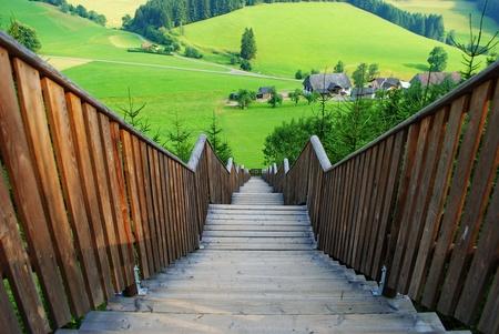 Wooden stairways with landscape in foreground Styria, Austria Stock Photo - 19536640