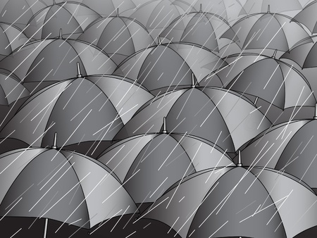 jams: Gray background with lots of umbrellas in rainy day