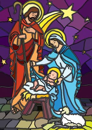 vetrate artistiche: Illustrazione vettoriale della sacra famiglia del presepe o la nascita di Ges� creata come vetrate