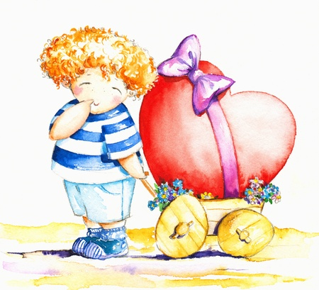 childishly: Sweet,shy boy pulling his wagon with big heart Picture created with watercolors