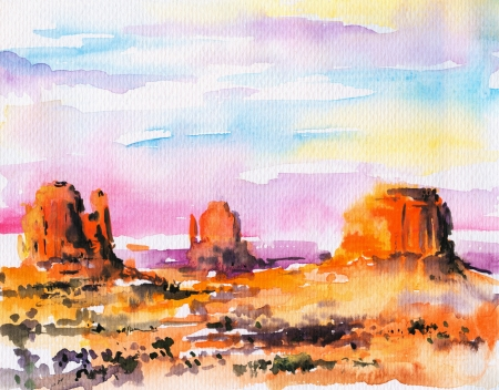 Illustration of Monument Valley at sunset Picture created with watercolors