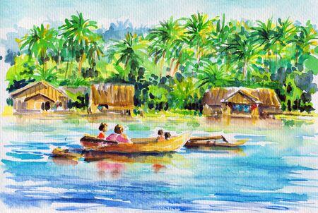 Landschap met boot op een rivier en het dorp onder de palmbomen in achtergrond Foto heb ik gemaakt met aquarellen