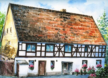 timbered: Hand painted picture of old half-timbered house in a small village in Germany Pictur created with watercolors