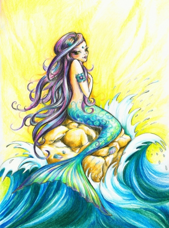 Beautiful mermaid looking at the sea Picture created with colored pencils  Stock Photo