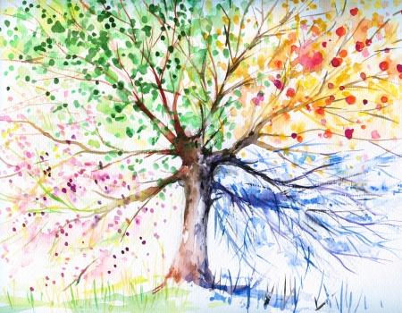 Hand geschilderde illustratie van vier seizoen boom Beeld gemaakt met aquarellen