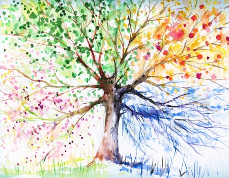 silhouette arbre hiver: Main illustration peinte de quatre arbres saison Image cr��e avec des aquarelles
