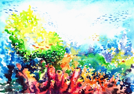 Underwater landscape with coral reef watercolor painted   photo