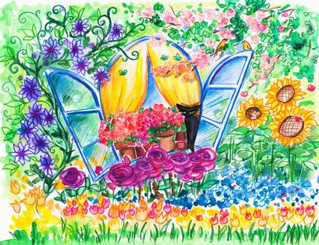 Open window into flowering garden Picture created with watercolors   photo