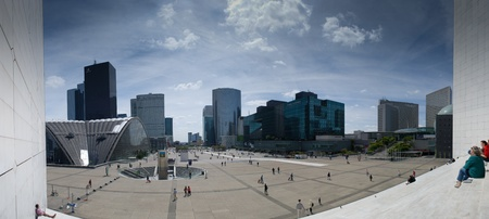 PARIS,FRANCE - MAY 28:Panorama of La Defense on 28, 2011 in Paris. La Defense is a business district with modern glass-and-steel slick skyscrapers.