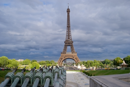Eiffel Tower in cloudy day ,Paris, France  photo