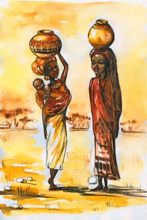 african village: Two African women  in traditional clothes during talking Picture created with watercolors