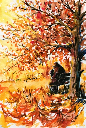 bench alone: Autumn-lonely, old man sitting on a bench under a tree in the park Picture  created with watercolors