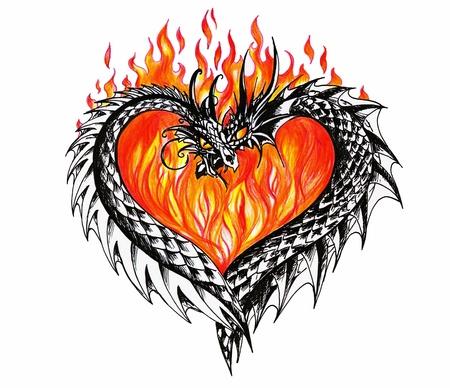 tatuaje dragon: Coraz�n con dos dragones y fuego en fondo Ilustraci�n creado con la pluma y l�pices de colores Foto de archivo