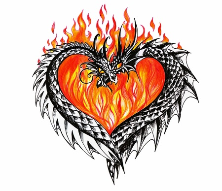black and white dragon: Heart with two dragons and fire in background Illustration  created with pen and colored pencils   Stock Photo