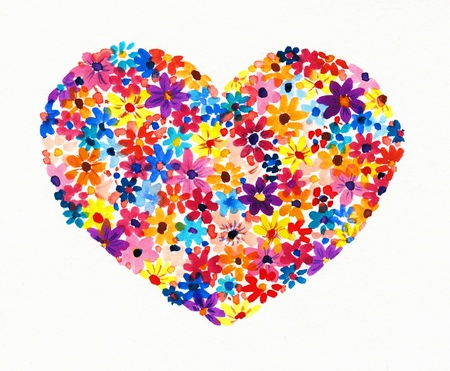 Heart made from flowers  Picture created with watercolors  photo