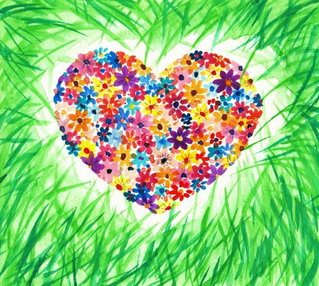 Heart made from flowers hidden in green grass Picture created with watercolors  photo