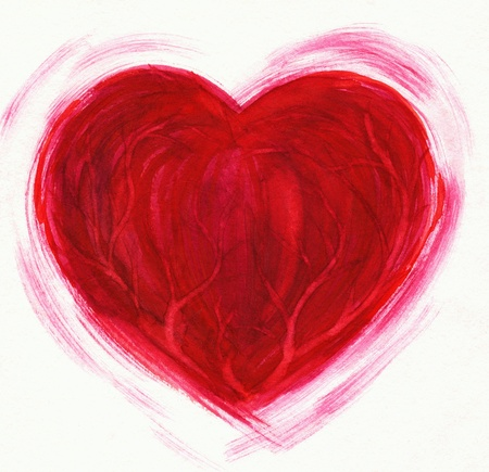 Beating red heart on white background Picture created with watercolors