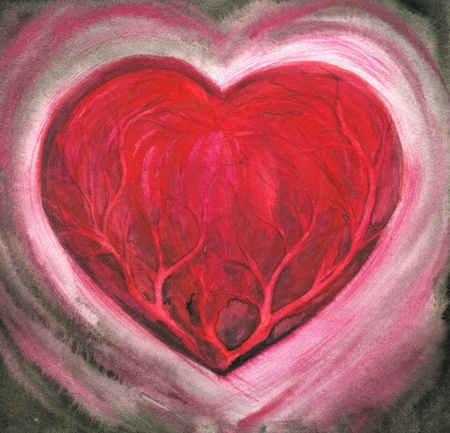 sic: Hand-painted picture showing the ill heart Picture created with watercolors
