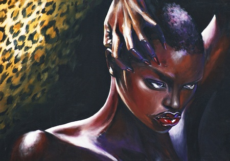 Portrait of African woman In background jaguar skin Picture have created with acrylic colors photo