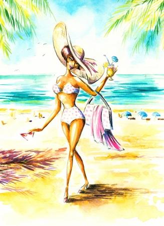 sexy girl bikini: Beautiful woman with hat on a beach