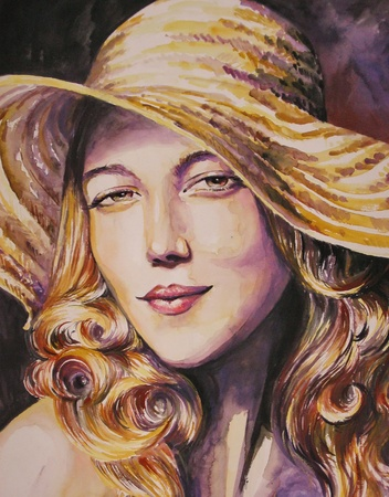 Portrait of beautiful woman with straw hat watercolor painted photo