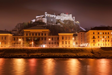 Night view of Salzburg, Austria  Historic Centre of the City of Salzburg is on World Heritage List