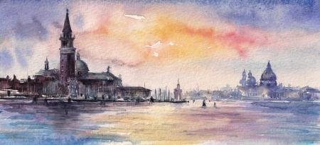 Venecia, Italia en el ocaso Imagen creada con las acuarelas Foto de archivo
