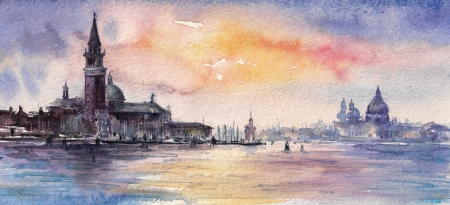 Venice,Italy at sunset Picture created with watercolors  Stock Photo