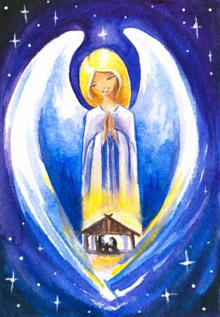 Angel beschermen een Heilige Familie Stockfoto