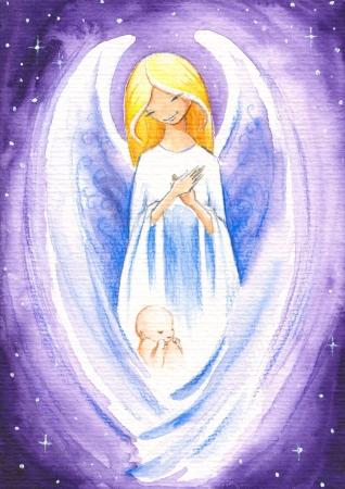 천사가 갓 태어난 아기를 보호