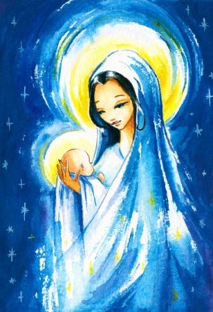 그녀의 팔에있는 젊은 예수 그리스도와 출생 장면 메리