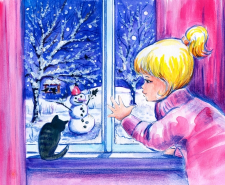 Little girl and her cat looking at the snow and snowman in garden photo