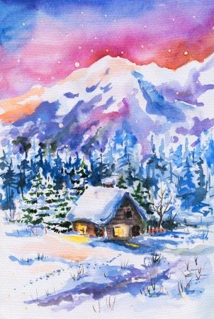背景水彩画の山と小さな家の冬の風景を描いた