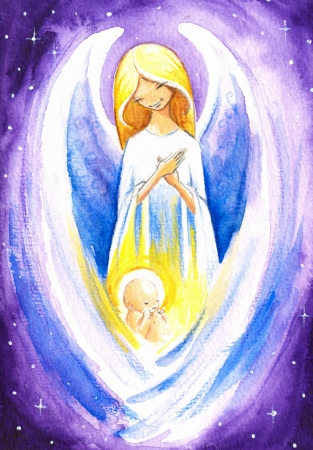Angel protect a baby Jesus Stock Photo
