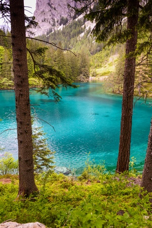 Landscape with mountains and turquoise lake-Gruener See,Styria,Austria  photo
