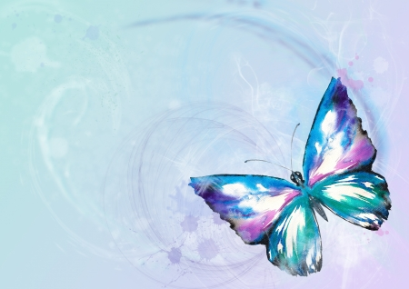 Nature background with butterfly watercolor painted on a colorful background photo